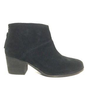 NEW Toms Black Suede Back-Zip Tassel Ankle Booties
